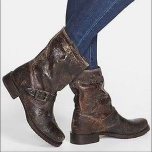 Frye Veronica mid calf distressed boot